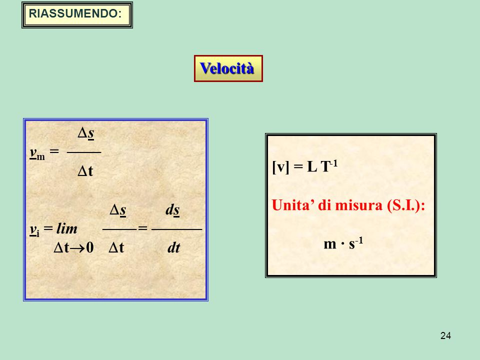 Velocità s vm =  t [v] = L T-1 s ds Unita' di misura (S.I.):
